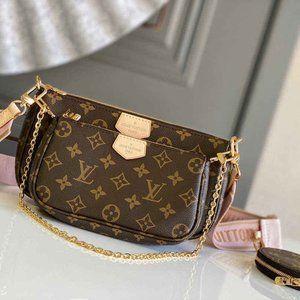 New LV Lady Pink Multi Pink Wallet Shoulder Bag